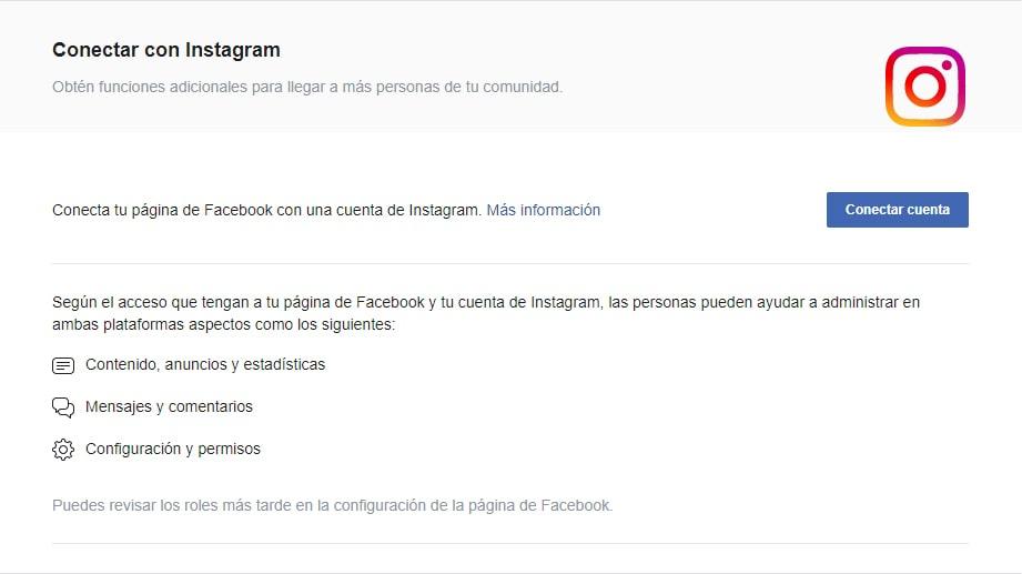Conectar Instagram con Facebook