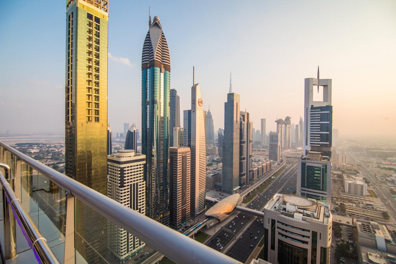 DUBAI, UAE - October, 2018. Aerial view of downtown Dubai in a autumn day, United Arab Emirates