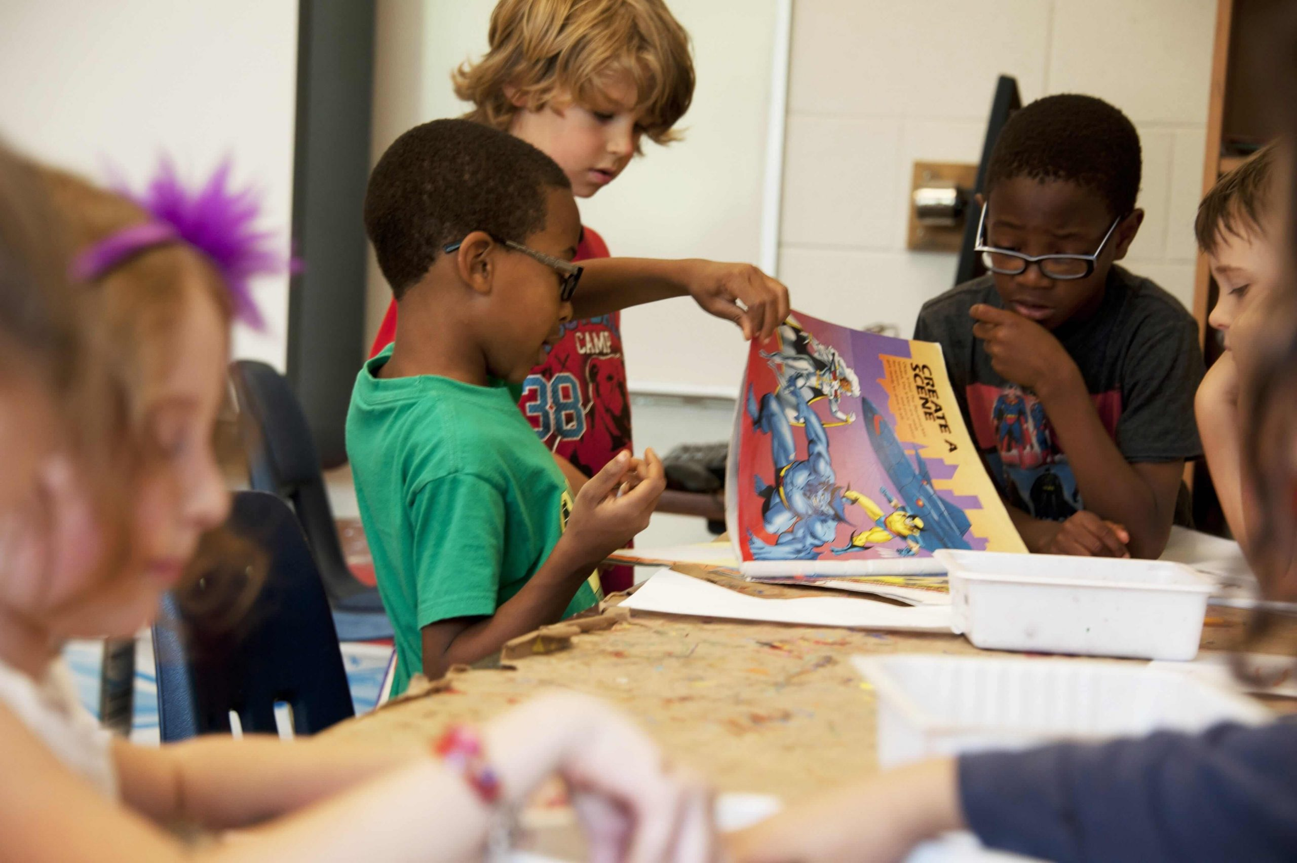 group of kids making art